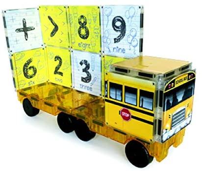 Set de constructie piese magnetice Autobuzul scolar 123 CreateOn Magna-Tiles - Set 16 piese magnetice3