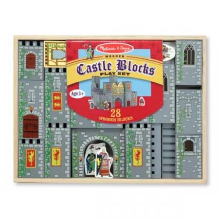 Set de cuburi din lemn Castel Melissa and Doug1