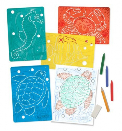 Set de sabloane texturate Animale marine Melissa and Doug1