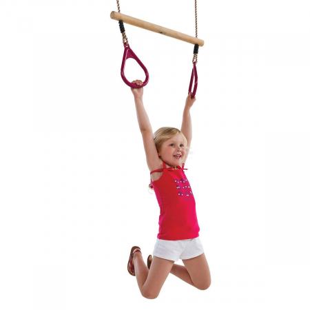 Trapez din lemn cu inele din plastic - PP - rosu6