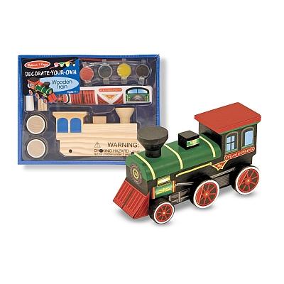 Trenulet din lemn de asamblat si pictat Melissa and Doug1