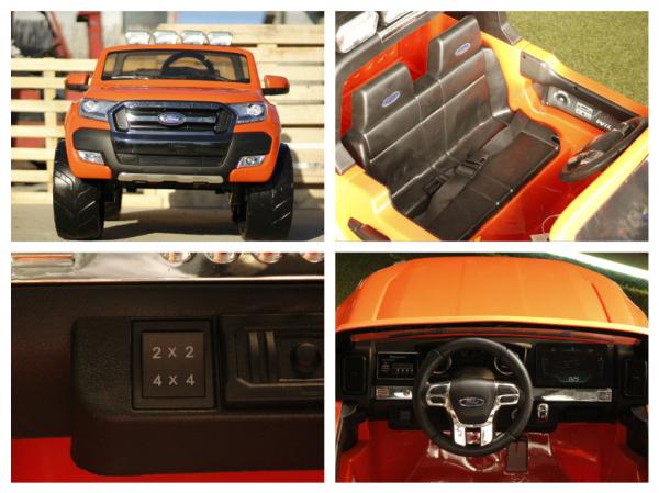 Masinuta electrica Ford Ranger 4x4 cu ROTI MOI 4x45W #Portocaliu 5