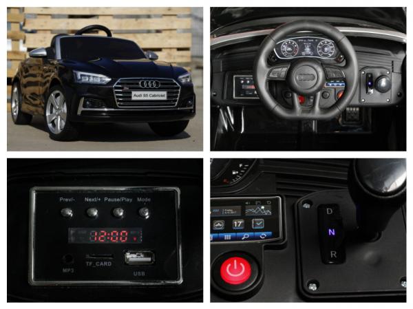 Masinuta electrica Audi S5 Cabriolet 2x35W CU ROTI MOI 12V #Negru 6
