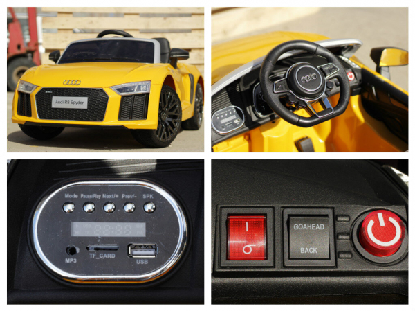 Audi R8 Spyder electric galben, copii 2-6 ani 8