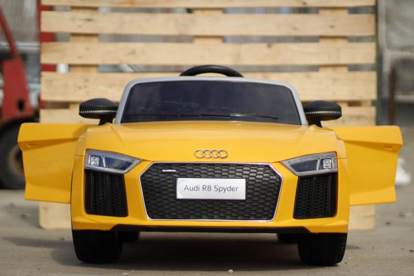 Audi R8 Spyder electric galben, copii 2-6 ani 1
