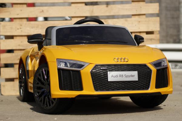 Audi R8 Spyder electric galben, copii 2-6 ani 3