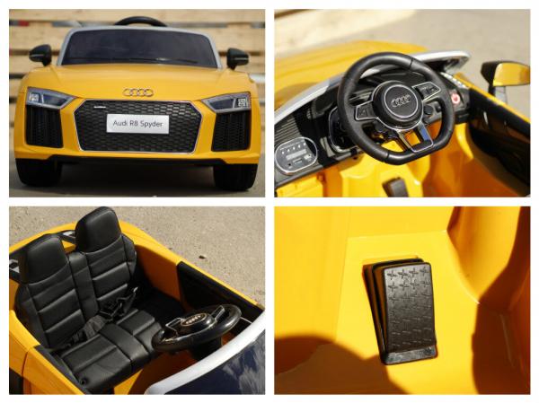 Audi R8 Spyder electric galben, copii 2-6 ani 7