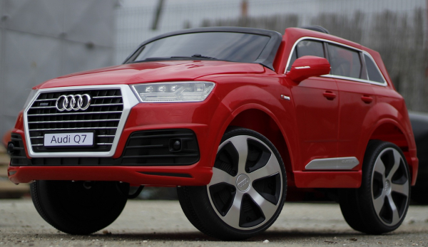 Masinuta electrica Audi Q7 2x35W 12V, Scaun tapitat #ROSU 4