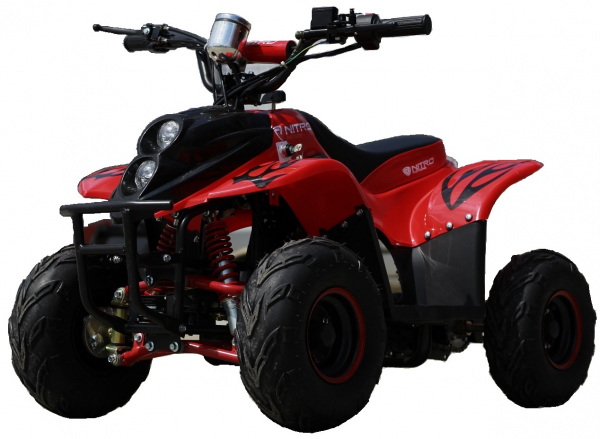 ATV electric ECO Bigfoot 800W 36V cu Baterie Detasabila SI FAR cu LED #Rosu 0