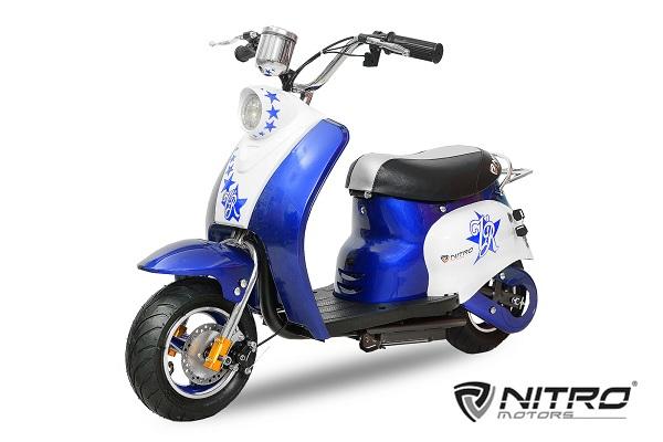 Scuter electric pentru copii NITRO ECO Retro 350W 24V 6.5 inch #Albastru 0