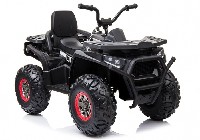 ATV electric pentru copii BJ607 12V 90W cu Scaun Tapitat #Negru [0]