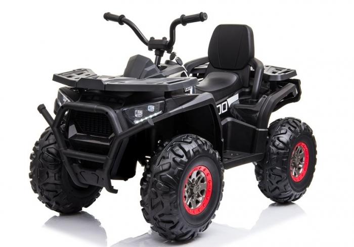 ATV electric pentru copii BJ607 12V 90W cu Scaun Tapitat #Negru [2]