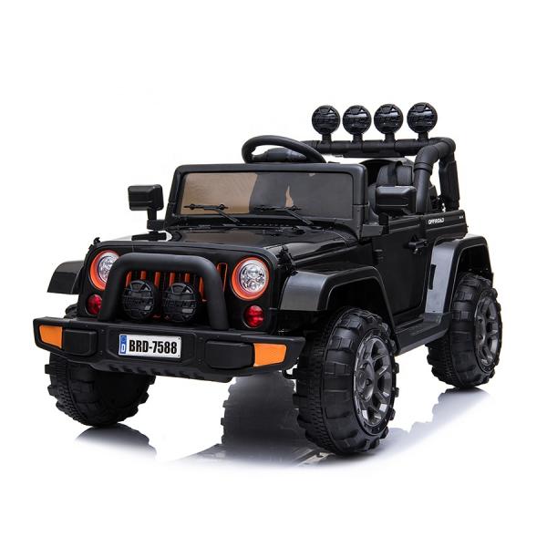 Masinuta electrica Jeep BRD-7588 90W 12V cu Scaun Tapitat #Negru 0
