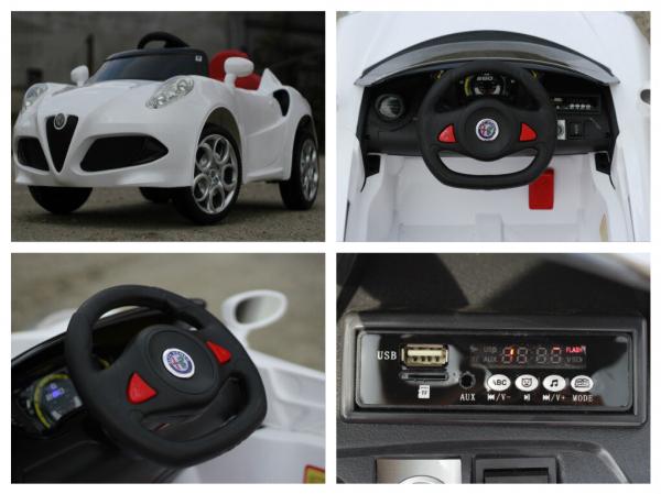 Masinuta electrica Alfa Romeo 4C 2x 15W STANDARD #Alb 7