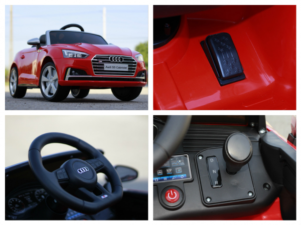 Masinuta electrica Audi S5 Cabriolet 2x35W CU ROTI MOI 12V #Rosu 10