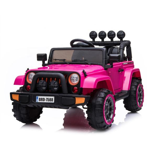 Masinuta electrica Jeep BRD-7588 90W 12V cu Scaun Tapitat #Roz 0