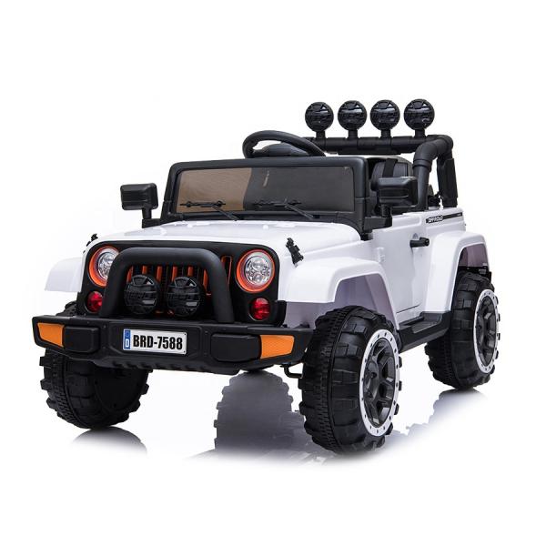 Masinuta electrica Jeep BRD-7588 90W 12V cu Scaun Tapitat #Alb 0