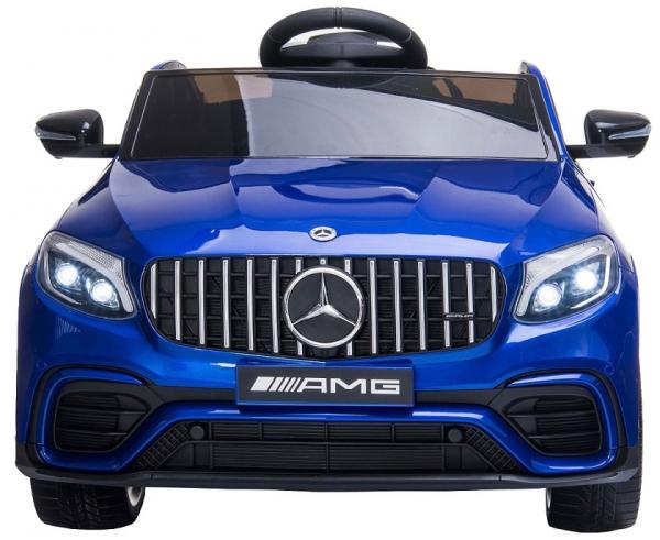 Masinuta electrica Mercedes GLC63s 70W 12V cu Scaun Tapitat #Albastru 2