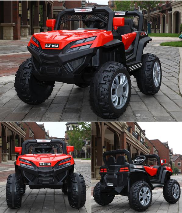 Masinuta electrica 4x4 Kinderauto BJF119A 120W 12V cu Scaun TAPITAT #Rosu [2]