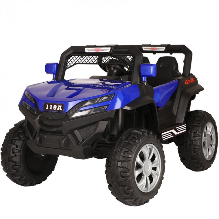 Masinuta electrica 4x4 Kinderauto BJF119A 120W 12V cu Scaun TAPITAT #Albastru 0