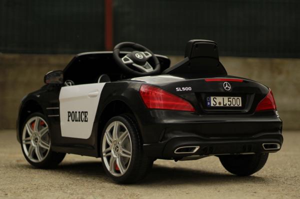 Masinuta electrica de politie Mercedes SL500 90W PREMIUM #Negru [7]