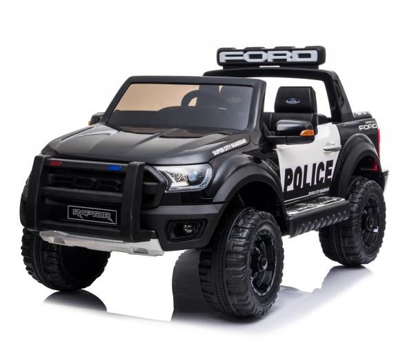 Masinuta electrica Ford Ranger POLICE 90W cu Scaun TAPITAT #Negru 0