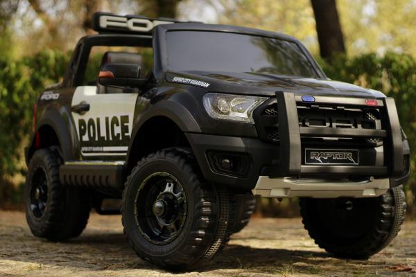 Masinuta electrica Ford Ranger POLICE 90W cu Scaun TAPITAT #Negru 15