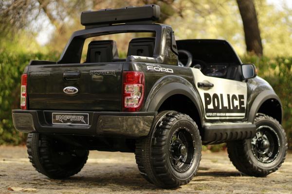 Masinuta electrica Ford Ranger POLICE 90W cu Scaun TAPITAT #Negru 3