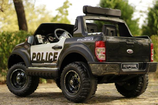 Masinuta electrica Ford Ranger POLICE 90W cu Scaun TAPITAT #Negru 14