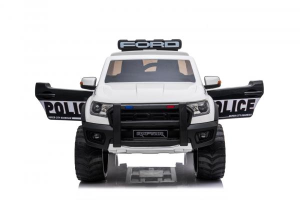 Masinuta electrica Ford Ranger POLICE 90W cu Scaun TAPITAT #Alb 1