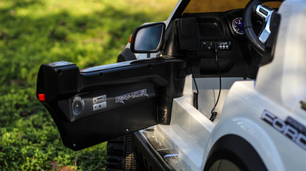 Masinuta electrica Ford Ranger POLICE 90W cu Scaun TAPITAT #Alb 7