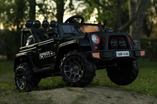 Masinuta electrica Jeep BRD-7588 90W 12V cu Scaun Tapitat #Negru 13