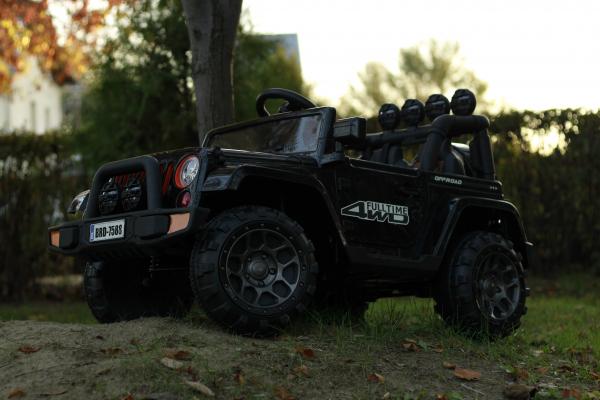 Masinuta electrica Jeep BRD-7588 90W 12V cu Scaun Tapitat #Negru 7
