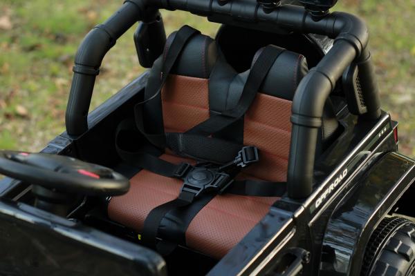 Masinuta electrica Jeep BRD-7588 90W 12V cu Scaun Tapitat #Negru 2