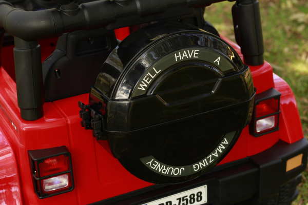 Masinuta electrica Jeep BRD-7588 90W 12V cu Scaun Tapitat #Rosu 10
