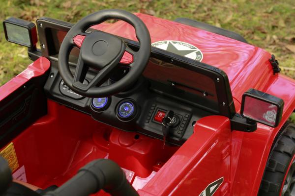 Masinuta electrica Jeep BRD-7588 90W 12V cu Scaun Tapitat #Rosu 13