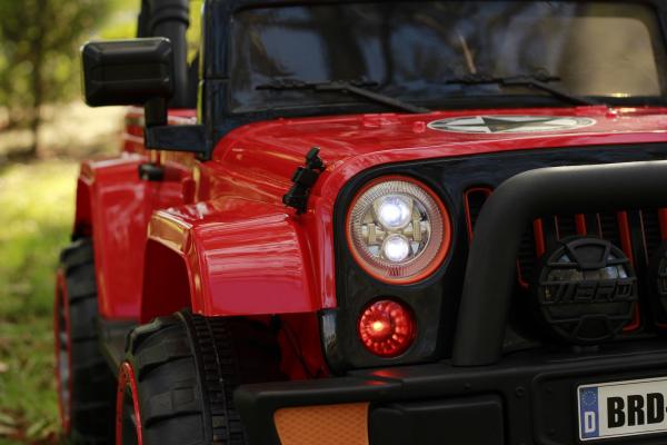 Masinuta electrica Jeep BRD-7588 90W 12V cu Scaun Tapitat #Rosu 15