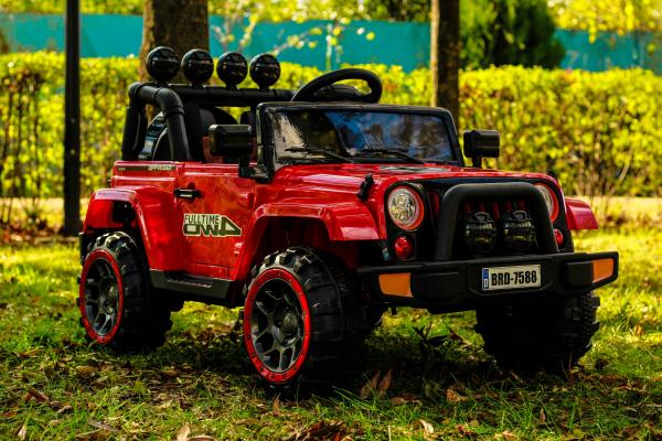 Masinuta electrica Jeep BRD-7588 90W 12V cu Scaun Tapitat #Rosu 1