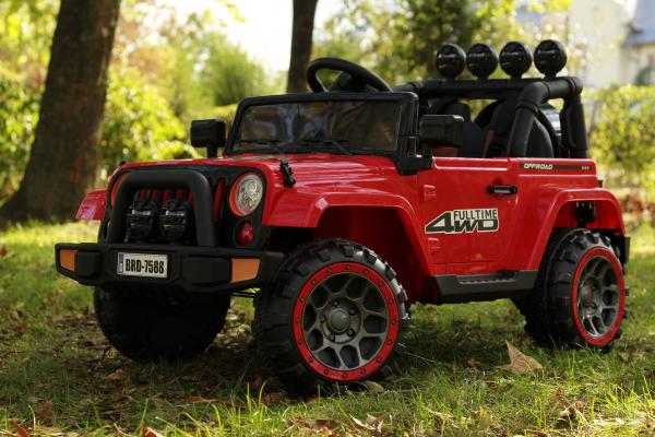 Masinuta electrica Jeep BRD-7588 90W 12V cu Scaun Tapitat #Rosu 2