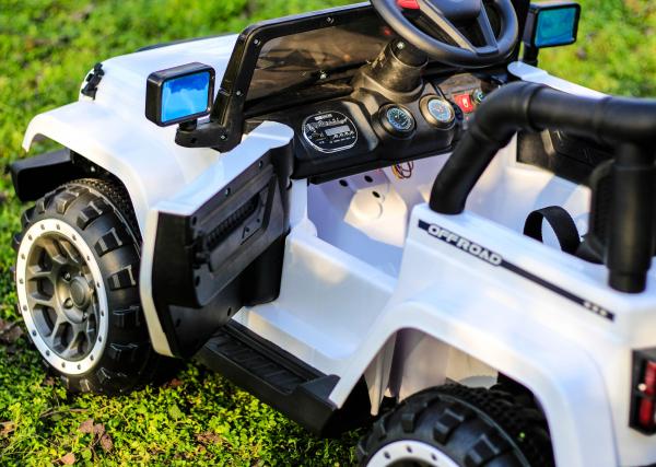 Masinuta electrica Jeep BRD-7588 90W 12V cu Scaun Tapitat #Alb 2