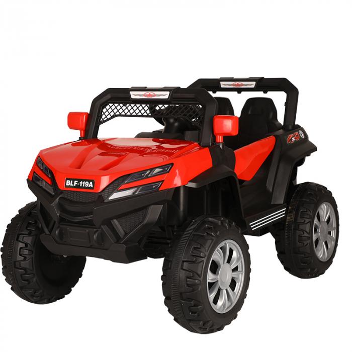 Masinuta electrica 4x4 Kinderauto BJF119A 120W 12V cu Scaun TAPITAT #Rosu 0