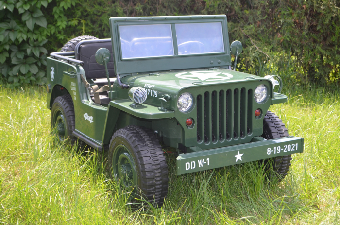 Masinuta electrica Jeep USA ARMY 4X4 180W PREMIUM #Verde [25]