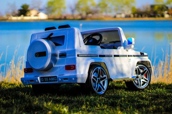 Masinuta electrica Mercedes G55 AMG 12V CU ROTI MOI #Alb 4