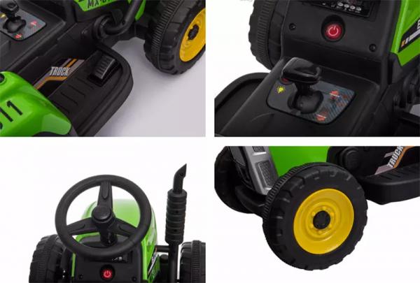 Tractoras electric BJ-611 cu remorca si telecomanda STANDARD #Verde 7