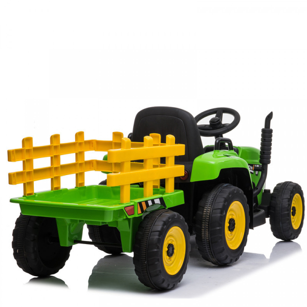 Tractoras electric BJ-611 cu remorca si telecomanda STANDARD #Verde 1