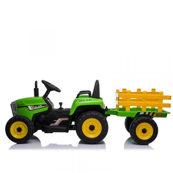 Tractoras electric BJ-611 cu remorca si telecomanda STANDARD #Verde 4