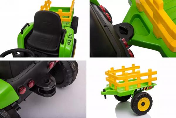 Tractoras electric BJ-611 cu remorca si telecomanda STANDARD #Verde 6