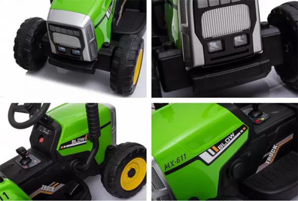 Tractoras electric BJ-611 cu remorca si telecomanda STANDARD #Verde 8