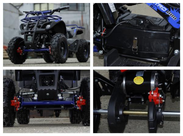 Mini ATV Electric Eco Torino Deluxe 1000W 48V cu 3 Trepte de Viteza #Albastru 7