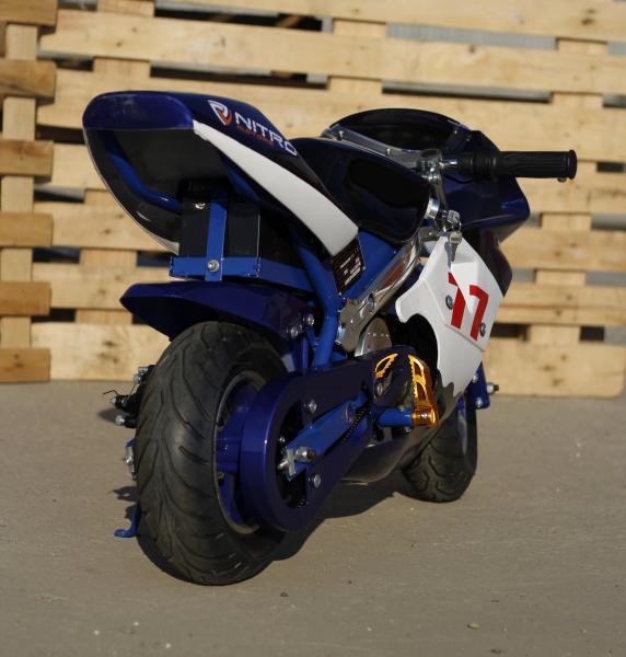 Mini Motocicleta electrica pentru copii NITRO Eco Pocket Bike 1000W #Albastru 4
